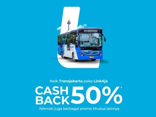 Gambar banner Cashback 50% Transjakarta