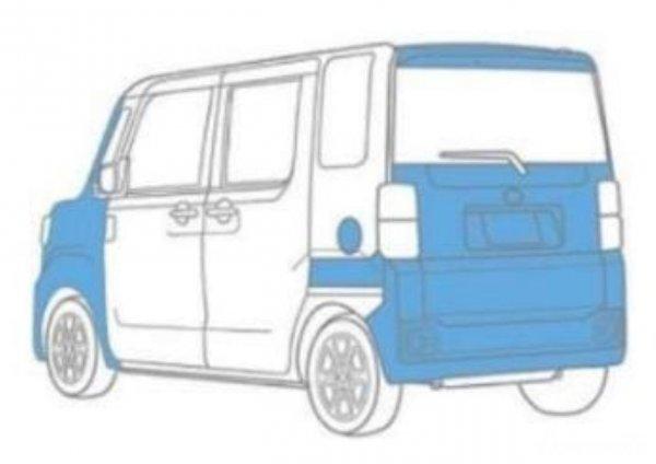 Gambar sebaran material resin pada bodi Daihatsu Tanto 2019
