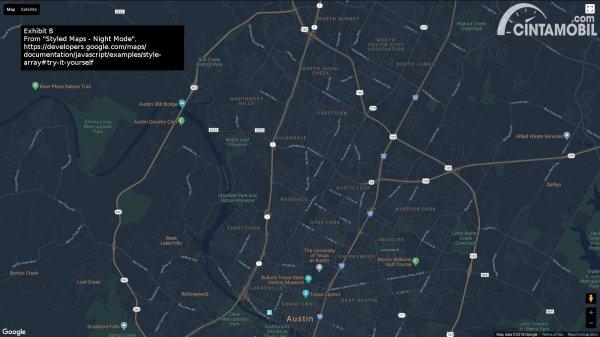 peta Google Maps berwarna hitam