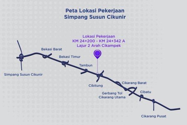 Gambar Lokasi perbaikan jalan Tol Jakarta Cikampek