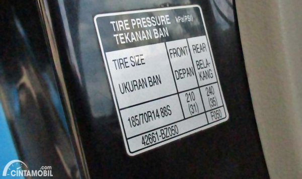 Tabel Tekanan Angin Ban Mobil Avanza