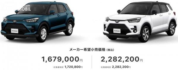 harga Toyota Raize di pasar Jepang