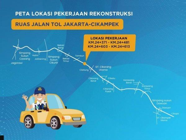 Gambar Peta perbaikan jalan tol Japek KM 24+