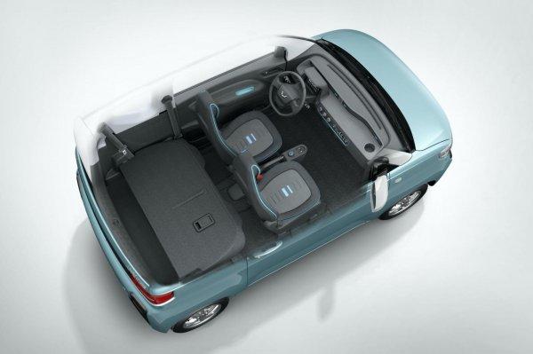 Gambar menunjukkan sebuah mobil listrik dari Wuling