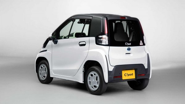 desain sebuah mobil listrik dilihat dari sisi belakang