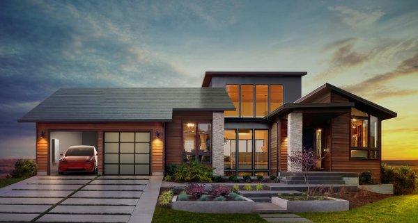 Foto menunjukkan desain rumah dengan atap panel surya buatan Tesla