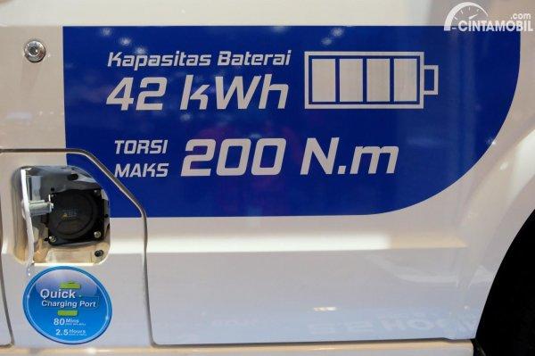 Gambar kapasitas baterai dan torsi DFSK Gelora E