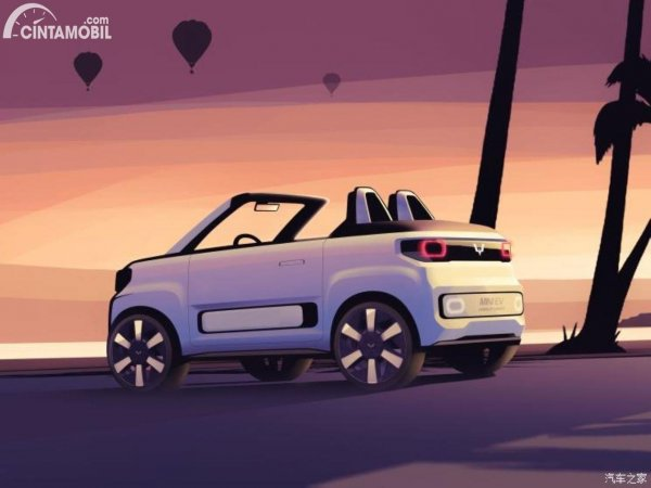 Foto tampilan belakang Wuling Mini EV Cabrio