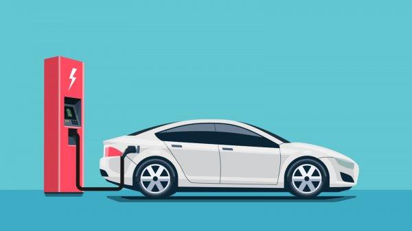 ilustrasi mobil listrik sedang diisi daya