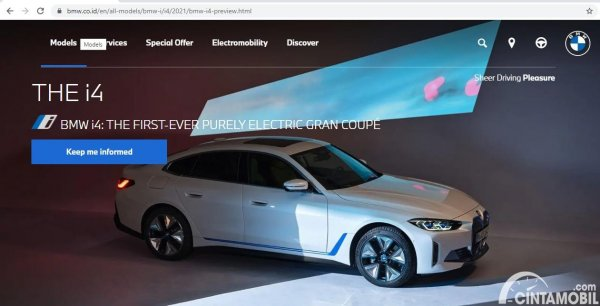 Sosok BMW i4 yang nongol di website BMW Indonesia