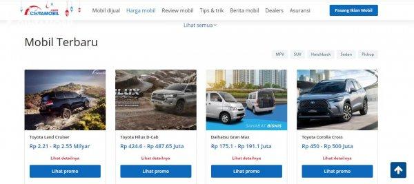 Gambar menunjukkan tampilan yang baru dari halaman harga mobil