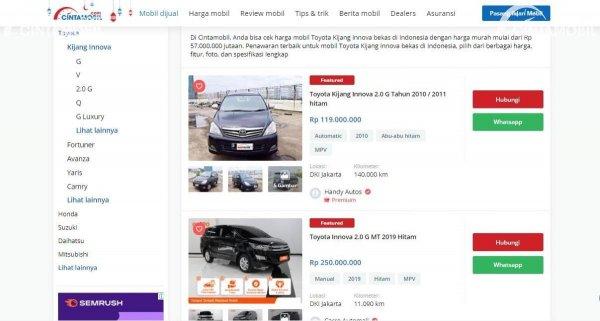 beragam mobil yang dijual di Cintamobil.com