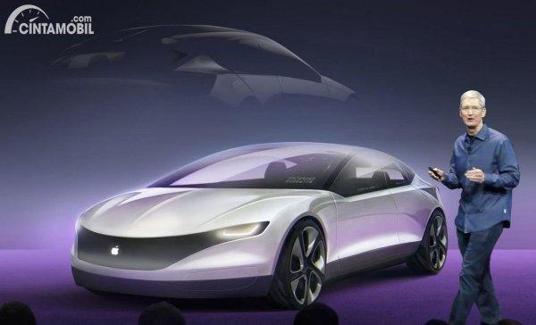 konsep Apple Car berwarna putih