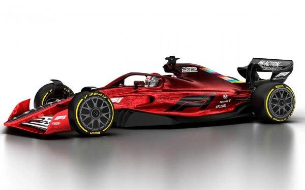 rendering mobil balap Formula 1 berwarna merah