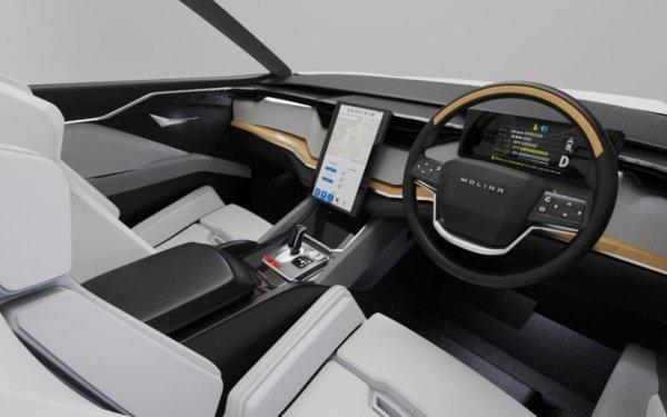 Foto menunjukkan Interior mobil listrik i-Deora
