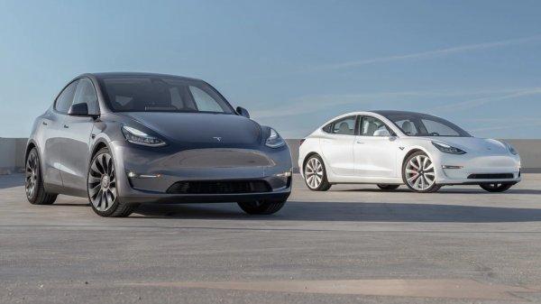 Foto Tesla Model 3 dan Model Y tampak samping depan
