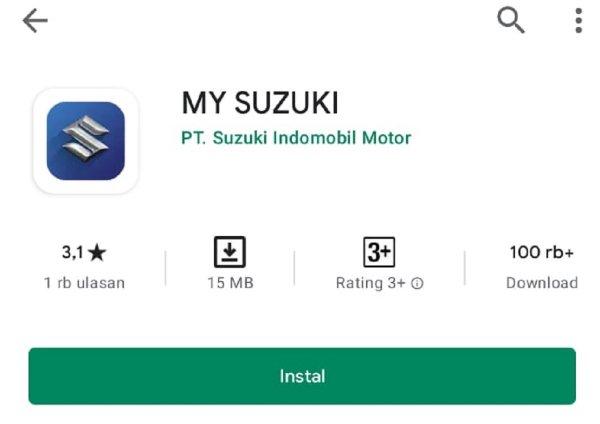 Gambar menunjukan Aplikasi MySuzuki