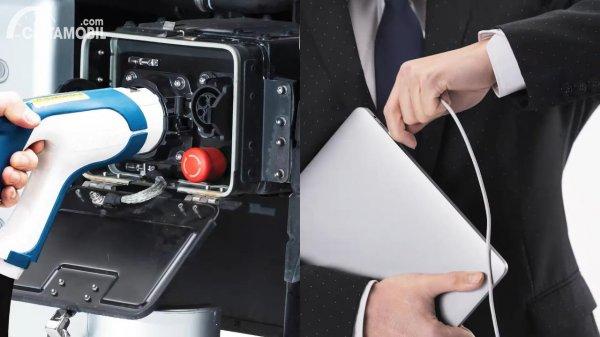Gambar truk listrik vs laptop