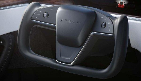 Foto menunjukkan setir model pesawat Tesla Model S