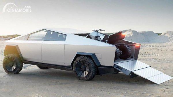 Gambar Tesla Cybertruck dan ATV