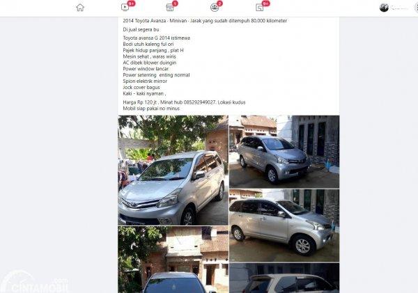 Gambar ini mnenunjukkan salah satu postingan jual mobil di Facebook