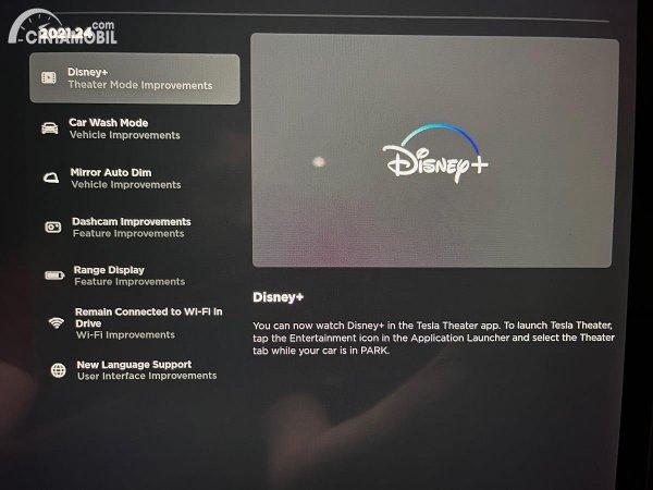 cara menonton Disney+ di dalam mobil Tesla
