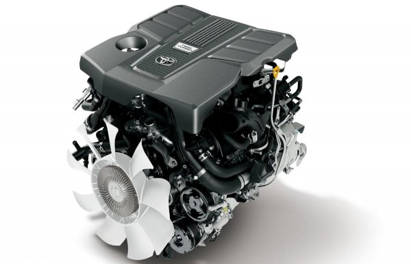 mesin Toyota Land Cruiser GR Sport berwarna hitam