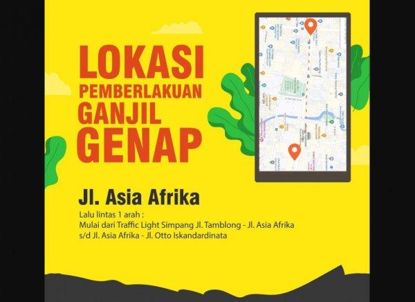 Foto Lokasi ganjil genap Asia Afrika Bandung