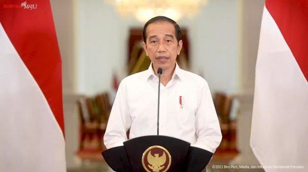 Foto Presiden Joko Widodo mengumumkan perpanjangan PPKM hingga 30 Agustus