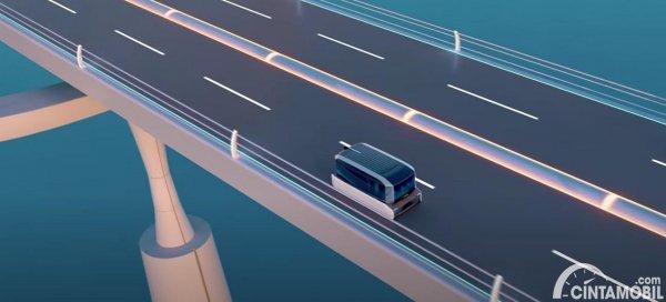 ilustrasi mobil otonom Hyundai di jalanan