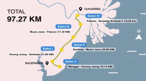 Foto Peta Jalan Tol Balikpapan-Samarinda