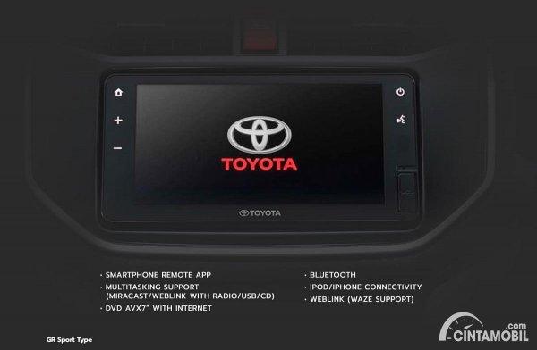 head unit Toyota Rush GR Sport berwarna hitam