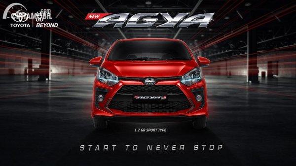 eksterior Toyota Agya GR Sport berwarna merah