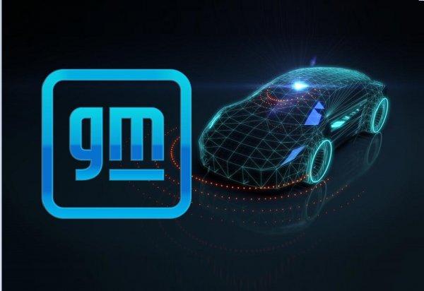 Foto menunjukkan logo General Motors